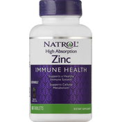 Natrol Zinc, Pineapple, High Absorption, Immune Health, Chewable Tablets