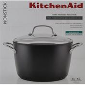 KitchenAid Covered Stockpot, Nonstick, Matte Black, 8 Quart