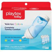Playtex VentAire Colors Complete Tummy Comfort 9 oz Blue Bottles