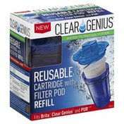 Clear Genius Cartridge, Reusable, with Filter Pod Refill