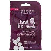Alba Botanica Sheet Mask, Fast Fix, Camu Camu, Anti-Wrinkle