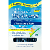 Dickinson's Cleansing Cloth, Soothing, Multi-Use, Singles, Witch Hazel