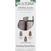 Nailtopia Nail Lacquer, 2 Bottles, 3 Looks, Smokey Road Glow