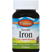 Carlson Labs Iron, Chewable, 27 mg, Tablets, Grape