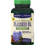 Nature's Reward Flaxseed Oil, 1000 mg, Cold Pressed, Quick Release Softgels
