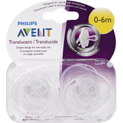 Avent Pacifiers, Orthodontic, Translucent, Step 1 (0-6 Months)