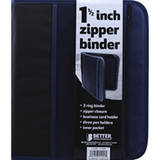 Better Office Products Binder, Zipper, 1-1/2 Inch