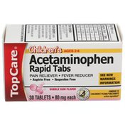 TopCare Children's Acetaminophen 80 Mg Pain Reliever/fever Reducer Rapid Tablets, Bubble Gum