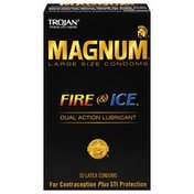Trojan Large Size Fire & Ice Dual Action Lubricant Condoms Magnum