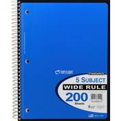 Top Flight Notebook, 5 Subject, Wide Rule, 200 Sheets