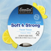 Essential Everyday Facial Tissue, Premium, White, Soft & Strong, Two-Ply