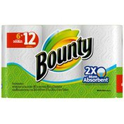 Bounty Paper Towels, White, 6 Double Rolls = 12 Regular Rolls  Towels/Napkins