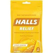 Halls Relief Syrup Center Honey Lemon Flavor Cough Drops