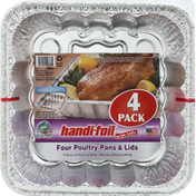Handi-Foil Poultry Pans & Lids, 4 Pack