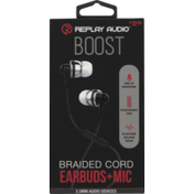 Replay Audio Earbuds+Mic, Boost, Braided Cord, Pre-Priced $12.99, Box