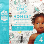 Honest Tea Diapers, Gentle + Absorbent, Space Travel, Size 4 (22-37 Pounds)