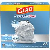 Glad ForceFlex OdorShield Drawstring Tall Kitchen Trash Bags, Fresh Clean