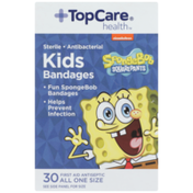 TopCare Spongebob Squarepants, Antibacterial Kids First Aid Antiseptic All One Size Bandages