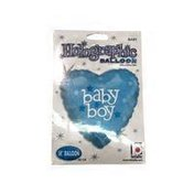 "Betallic 18"" Blue Holographic Heart Shaped Baby Boy Flat Mylar Balloon"