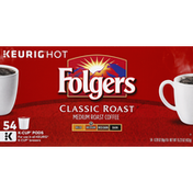 Folgers Coffee, Medium Roast, Classic Roast, K-Cup Pods
