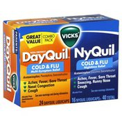 Vicks Cold & Flu, Multi-Symptom Relief, Nighttime Relief, LiquiCaps