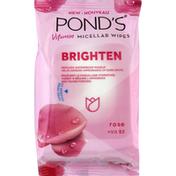 Ponds Micellar Wipes, Vitamin, Rose + Vit B3, Brighten