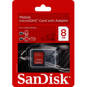 SanDisk MicroSDHC Card, Mobile, with Adapter, 8 GB