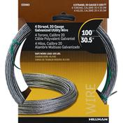 Hillman Group Utility Wire, Galvanized, 4 Strand, 20 Gauge