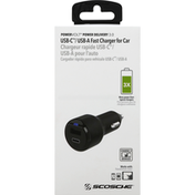 Scosche Charger for Car, Fast, USB-C/USB-A