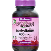 Bluebonnet Methylfolate, 400 mcg, Natural Raspberry, Chewable Tablets