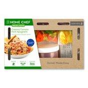 Home Chef Creamy Tomato Pork Spaghetti With Parmesan And Garlic Bread
