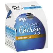 L'eggs Pantyhose, Light Support Leg, Control Top, Sheer Toe, Q+, Jet Black