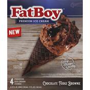 FatBoy Ice Cream Cones, Premium, Chocolate Fudge Brownie