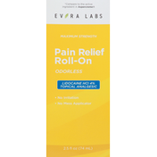 Evora Labs Pain Relief, Roll-On, Odorless, Maximum Strength