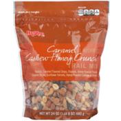 Hy-Vee Caramel Flavored Cashew Honey Crunch Raisins, Caramel Flavored Drops, Peanuts, Honey Roasted Peanuts, Sesame Sticks, Sunflower Kernels, Honey Roasted Cashews & Almonds Trail Mix