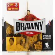 Brawny Paper Towels, Giant Rolls, White, 2-Ply