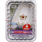 Handi-Foil Cake Pans & Lids, 13 x 9, 4 Pack