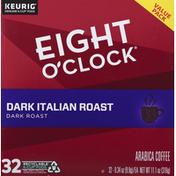 Eight O'Clock Coffee Coffee, Dark Italian Roast, K-Cup Pods, Value Pack
