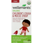 Wellements Cough Syrup, Organic, Children's