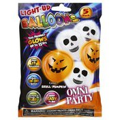 Omni Party Balloons, Light-Up, Omni Party, Color Skull/Pumpkin, 5 Pack