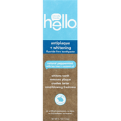 hello Toothpaste, Fluoride Free, Antiplaque + Whitening, Natural Peppermint