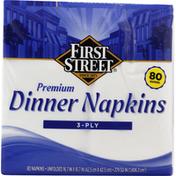 First Street Dinner Napkins, Premium, 3-Ply