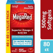 MegaRed Omega-3 Fish Oil Supplement 500mg - Extra Strength Softgels, Krill Oil No Fishy Aftertaste