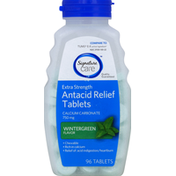 Signature Care Antacid Relief, Extra Strength, 750 mg, Chewable Tablets, Wintergreen Flavor