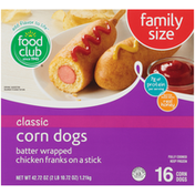 Food Club Classic Corn Dogs Batter Wrapped Chicken Franks On A Stick
