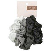 Kit Sch Scrunchie, Metallic, Black/Gray