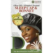Donna Sleep Cap, & Bonnet, Olive Oil + Vitamin E Treated, Black 22004