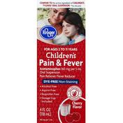 Kroger Pain & Fever, Children's, Oral Suspension, Cherry Flavor