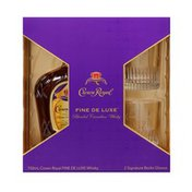 Crown Royal Fine De Luxe Blended Canadian Whisky with Two Signature Rocks Glasses