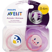 Avent Pacifiers, Orthodontic, Animals, 0-6 Months